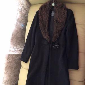 Vintage Wool Coat with Faux Fur